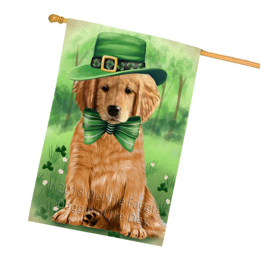 St. Patricks Day Irish Portrait Golden Retriever Dog House Flag FLG48773