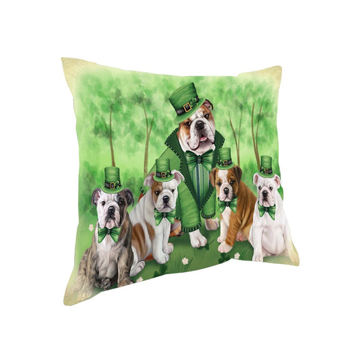 St. Patricks Day Irish Family Portrait Bulldogs Pillow PIL50856