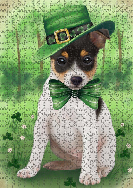 St. Patricks Day Irish Portrait Rat Terrier Dog Puzzle with Photo Tin PUZL51801