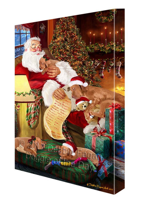 Vizsla Dog and Puppies Sleeping with Santa Canvas Wall Art