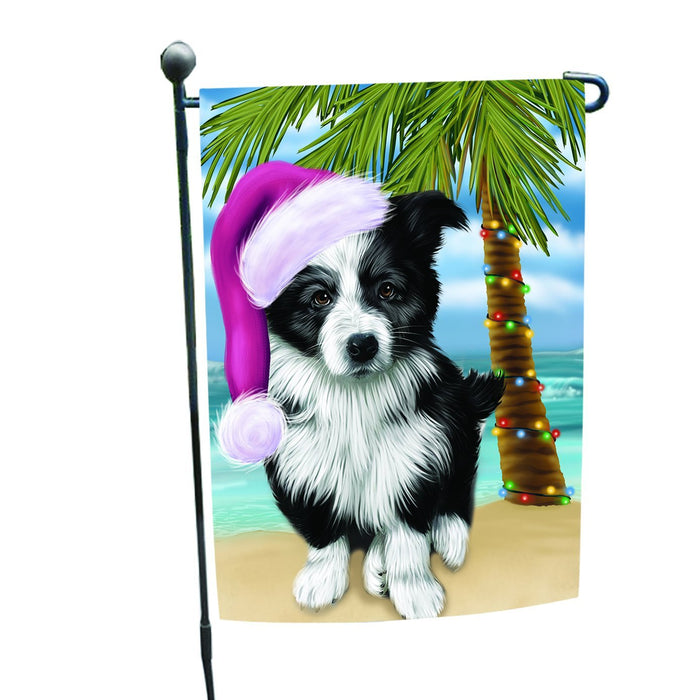 Summertime Happy Holidays Christmas Border Collie Dog on Tropical Island Beach Garden Flag