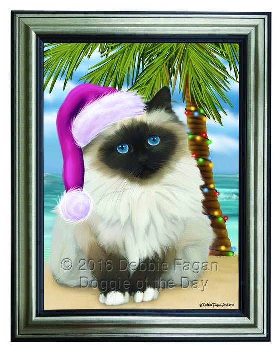 Summertime Happy Holidays Christmas Birman Cat on Tropical Island Beach Framed Canvas Print Wall Art