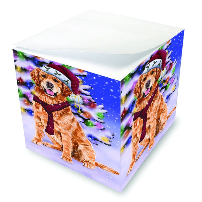 Winterland Wonderland Golden Retrievers Dog In Christmas Holiday Scenic Background Note Cube D661