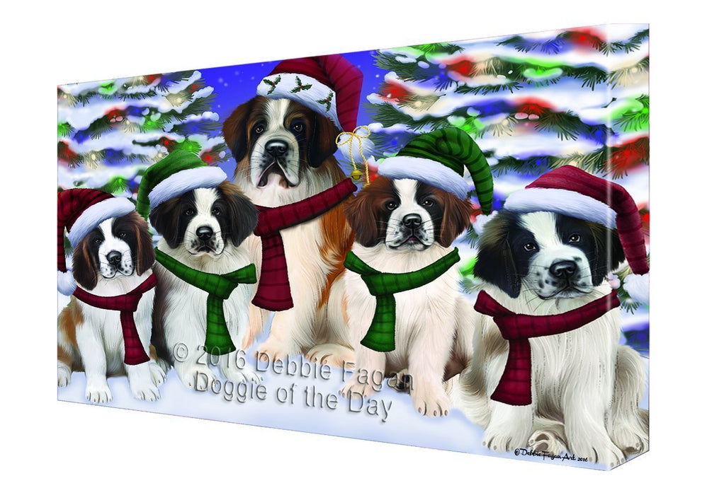 Saint Bernard Dog Christmas Family Portrait in Holiday Scenic Background Canvas Wall Art