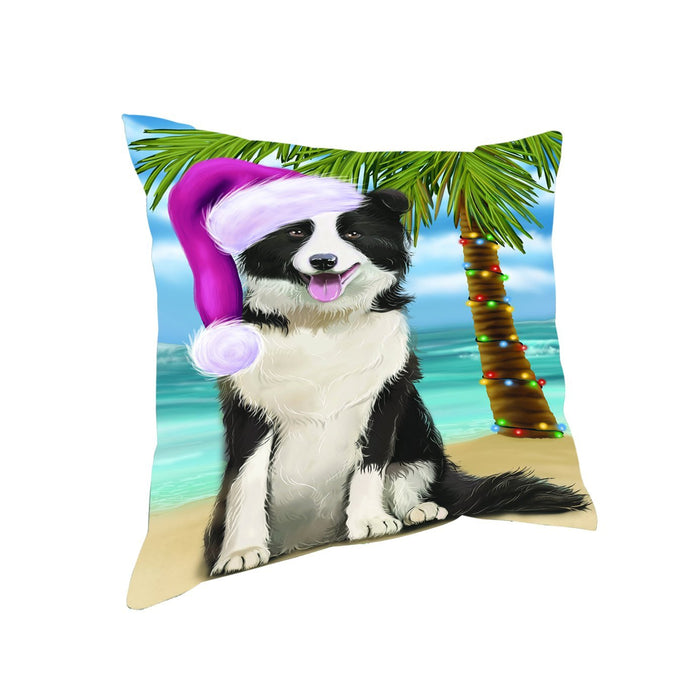 Summertime Happy Holidays Christmas Border Collie Dog on Tropical Island Beach Throw Pillow