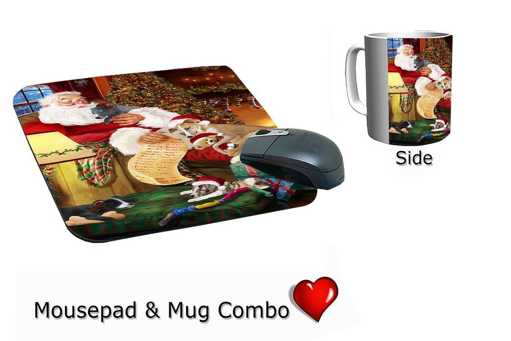 Whippet Dog and Puppies Sleeping with Santa Mug & Mousepad Combo Gift Set