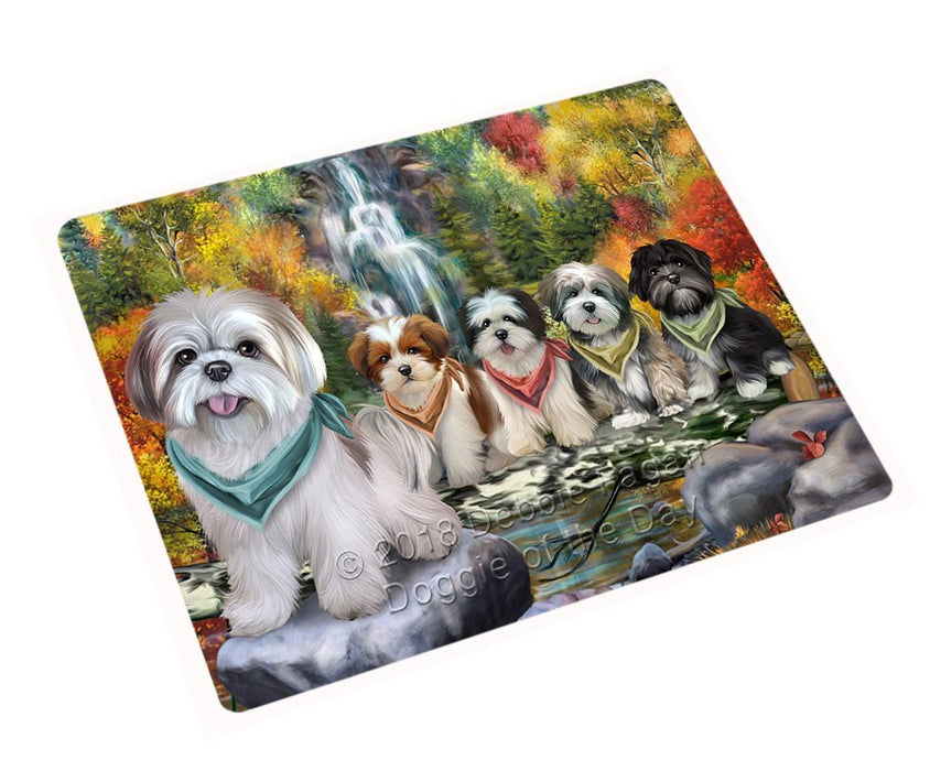 Scenic Waterfall Lhasa Apsos Dog Tempered Cutting Board C52206