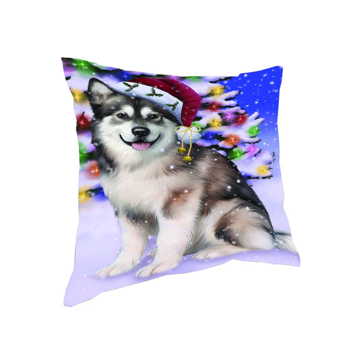 Winterland Wonderland Alaskan Malamute Dog In Christmas Holiday Scenic Background Throw Pillow