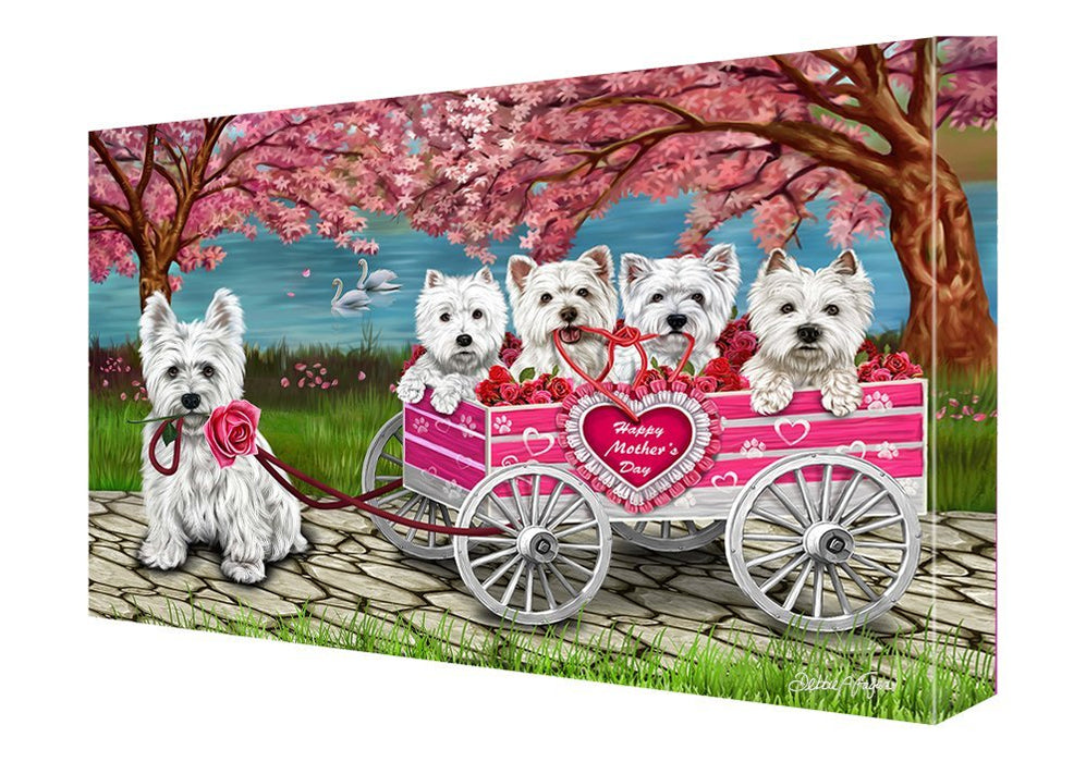 Westies Dog w/ Puppies Mother's Day Painting Printed on Canvas Wall Art Signed