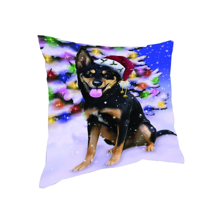 Winterland Wonderland Australian Kelpies Dog In Christmas Holiday Scenic Background Throw Pillow