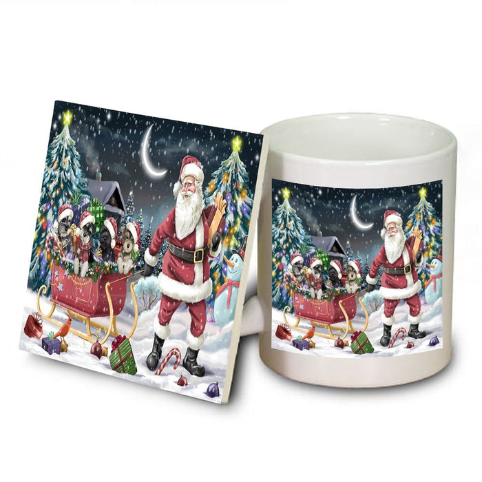 Santa Sled Dogs Schnauzer Christmas Mug and Coaster Set MUC0492