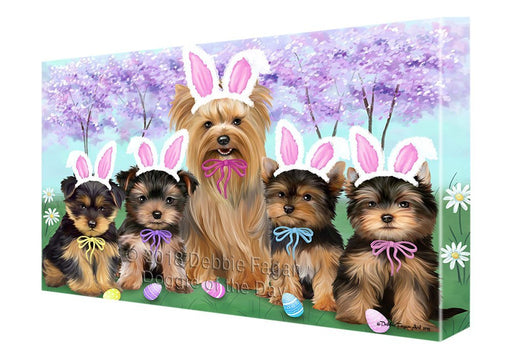 Yorkshire Terriers Dog Easter Holiday Canvas Wall Art CVS58242 (18x24)