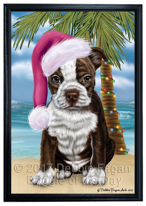 Summertime Happy Holidays Christmas Boston Terriers Dog on Tropical Island Beach Framed Canvas Print Wall Art