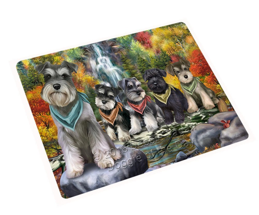 Scenic Waterfall Schnauzers Dog Tempered Cutting Board C52350
