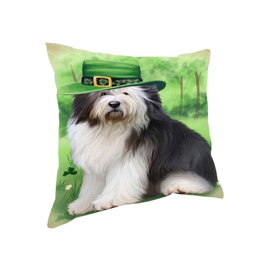 St. Patricks Day Irish Portrait Old English Sheepdog Pillow PIL51216 (14x14)