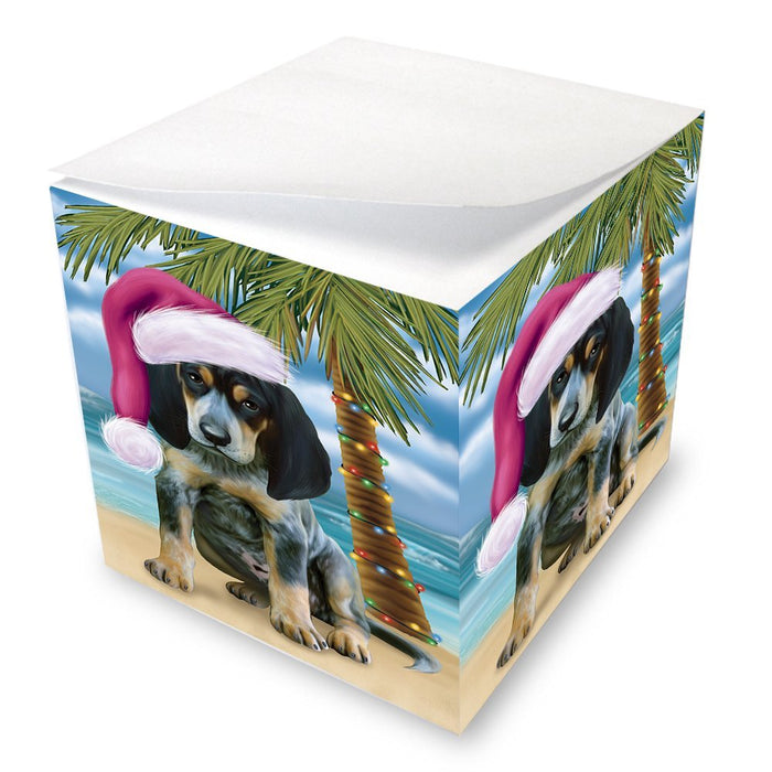 Summertime Happy Holidays Christmas Bluetick Coonhound Dog on Tropical Island Beach Note Cube D506