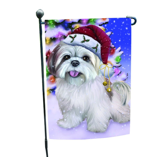 Winterland Wonderland Lhasa Apso Dog In Christmas Holiday Scenic Background Garden Flag