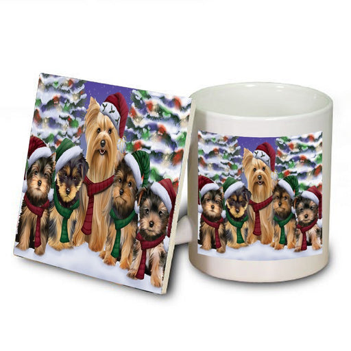 Yorkshire Terriers Dog Christmas Family Portrait in Holiday Scenic Background Mug and Coaster Set
