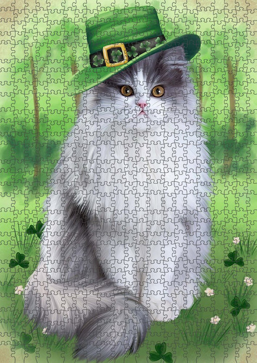 St. Patricks Day Irish Portrait Persian Cat Puzzle with Photo Tin PUZL51711