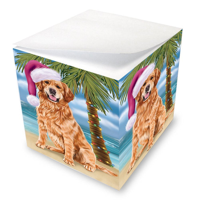 Summertime Happy Holidays Christmas Golden Retrievers Dog on Tropical Island Beach Note Cube D541