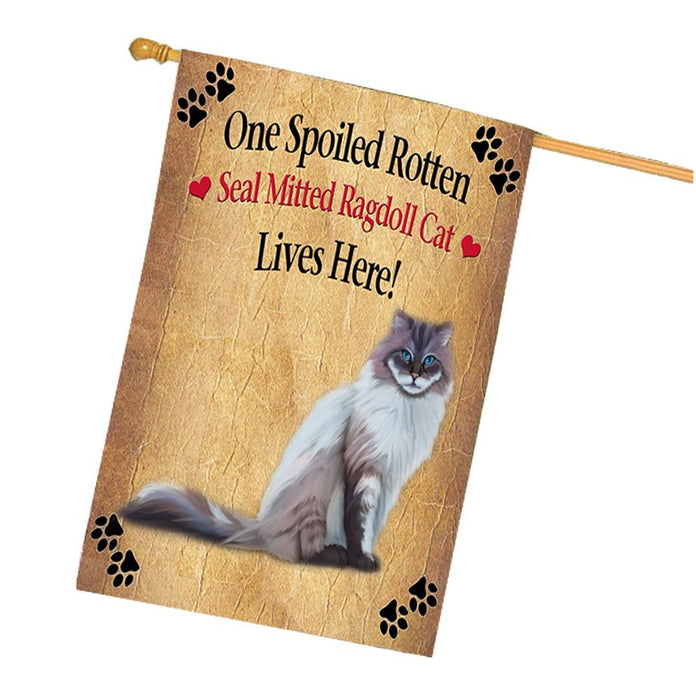 Seal Mitted Lynx Ragdoll Spoiled Rotten Cat House Flag
