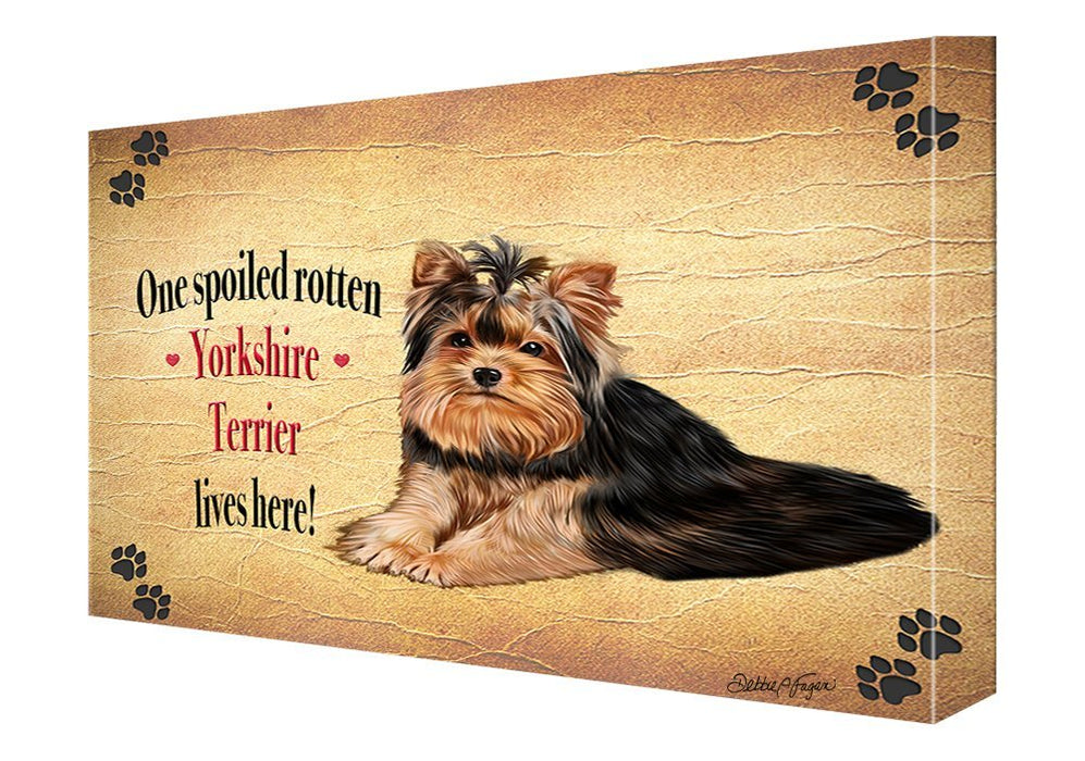 Yorkshire Terrier Spoiled Rotten Dog Painting Printed on Canvas Wall Art Signed