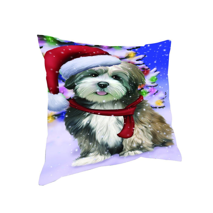 Winterland Wonderland Lhasa Apso Dog In Christmas Holiday Scenic Background Throw Pillow