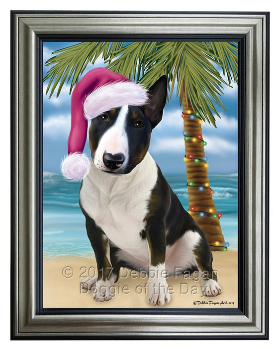 Summertime Happy Holidays Christmas Bull Terrier Dog on Tropical Island Beach Framed Canvas Print Wall Art