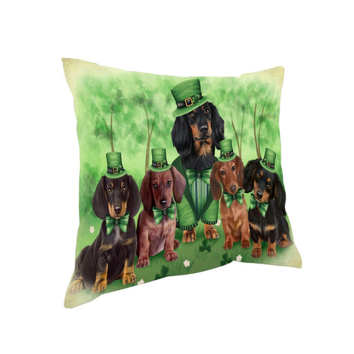 St. Patricks Day Irish Family Portrait Dachshund Dogs Pillow PIL48592