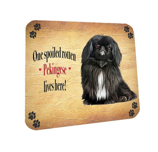 Spoiled Rotten Black Pekingese Dog Coasters Set of 4