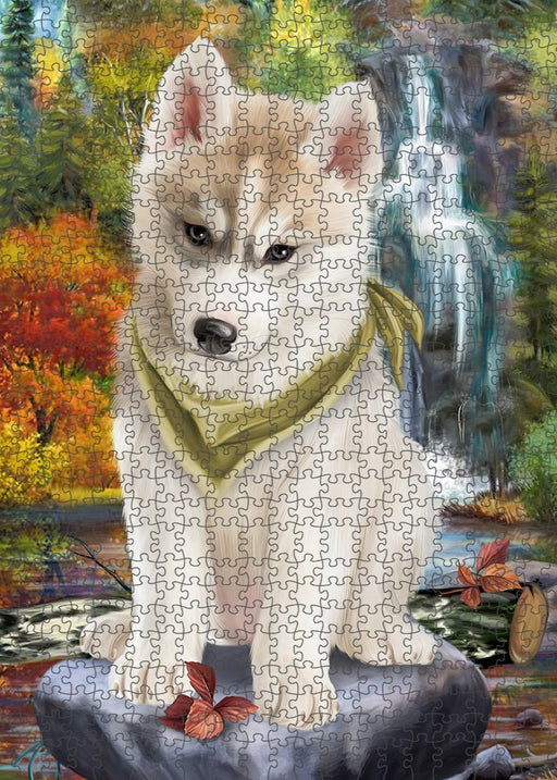 Scenic Waterfall Siberian Husky Dog Puzzle with Photo Tin PUZL52449