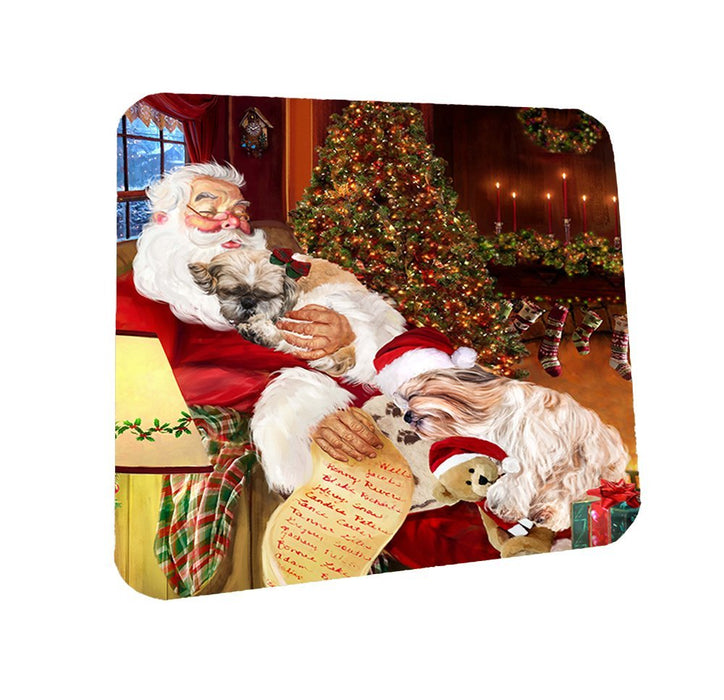 Shih Tzu Dog and Puppies Sleeping with Santa Coasters Set of 4