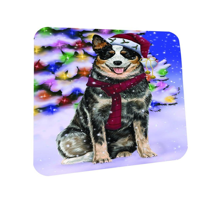 Winterland Wonderland Australian Cattle Dog In Christmas Holiday Scenic Background Coasters Set of 4