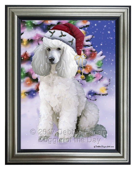 Winterland Wonderland Poodles Dog In Christmas Holiday Scenic Background Framed Canvas Print Wall Art