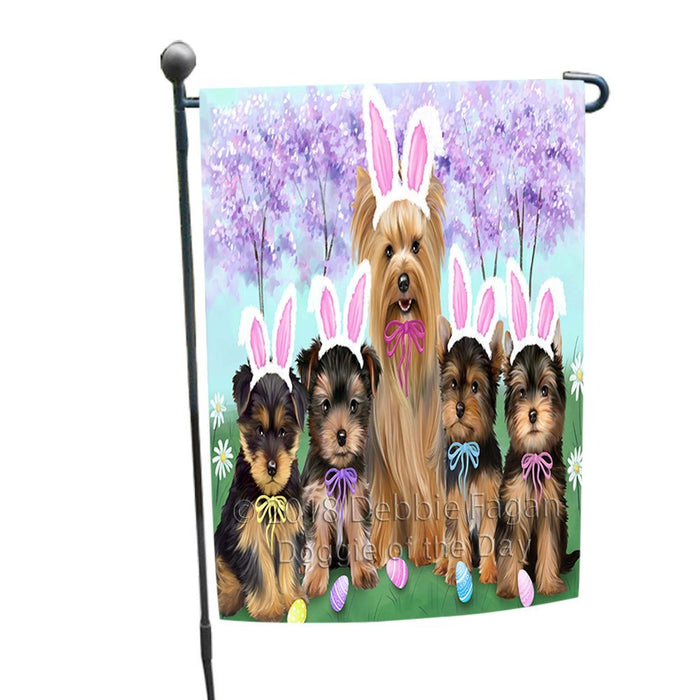 Yorkshire Terriers Dog Easter Holiday Garden Flag GFLG49090