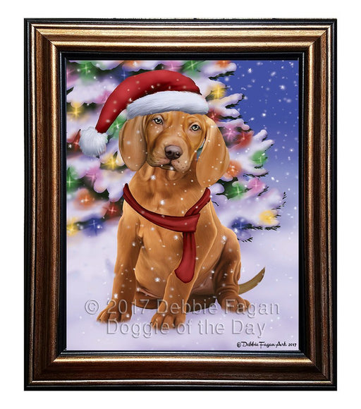 Winterland Wonderland Vizsla Puppy Dog In Christmas Holiday Scenic Background Framed Canvas Print Wall Art