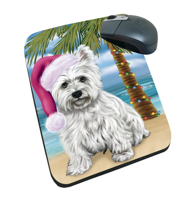Summertime Happy Holidays Christmas West Highland Terriers Dog on Tropical Island Beach Mousepad