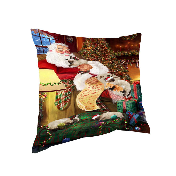 Siamese Cats and Kittens Sleeping with Santa Throw Pillow