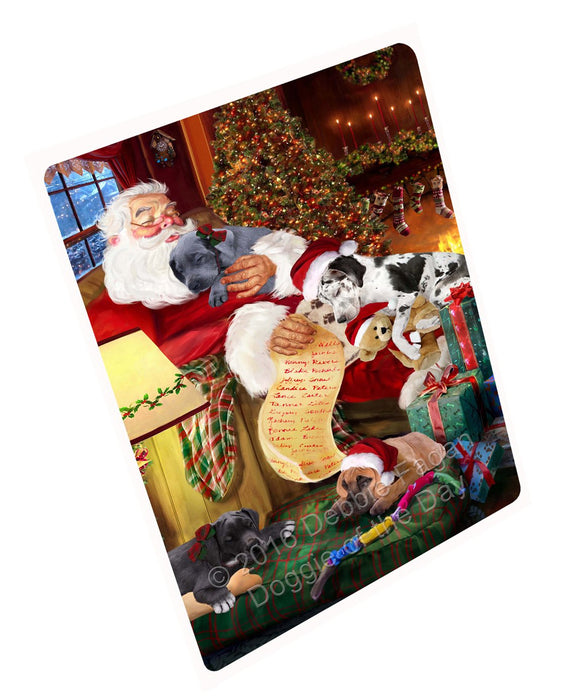 "Great Dane Dog And Puppies Sleeping With Santa Magnet Mini (3.5"" x 2"")"