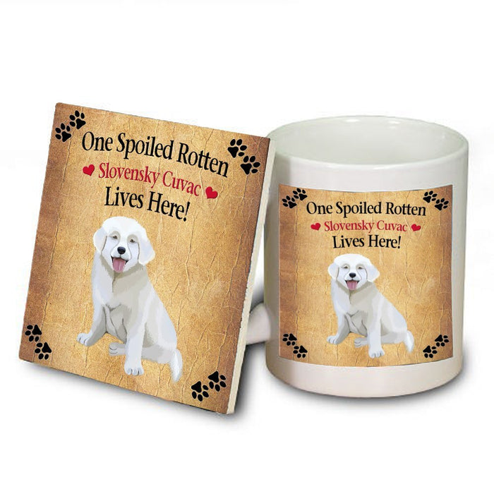 Slovensky Cuvac Spoiled Rotten Dog Mug and Coaster Set