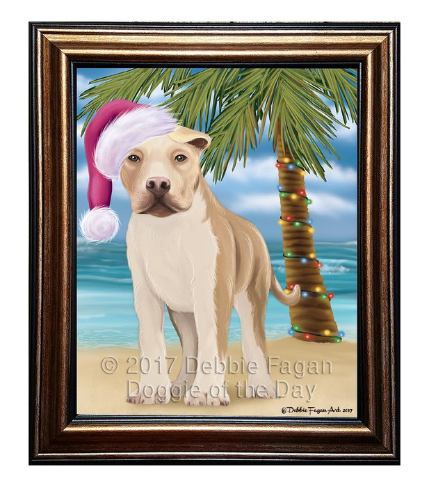 Summertime Happy Holidays Christmas American Staffordshire Dog on Tropical Island Beach Framed Canvas Print Wall Art D001