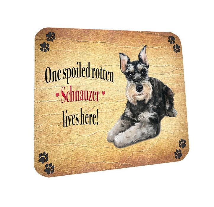 Spoiled Rotten Schnauzer Dog Coasters Set of 4