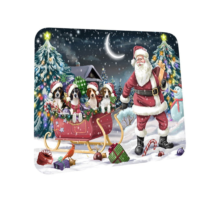 Santa Sled Dogs Treeing Walker Coonhound Christmas Coasters CST397 (Set of 4)