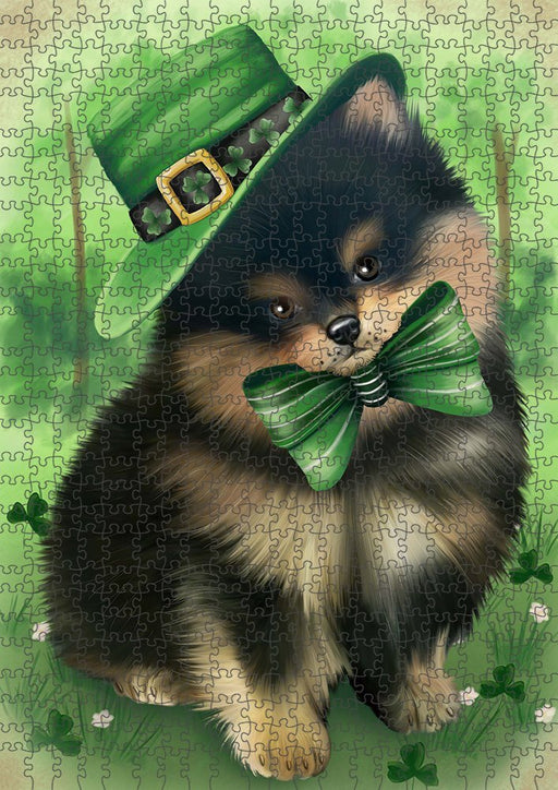 St. Patricks Day Irish Portrait Pomeranian Dog Puzzle with Photo Tin PUZL51762