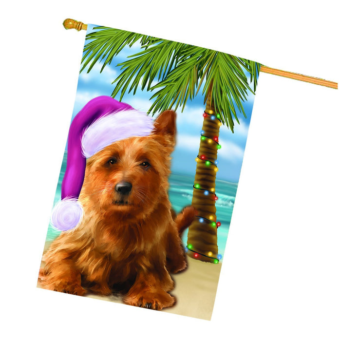 Summertime Happy Holidays Christmas Australian Terriers Dog on Tropical Island Beach House Flag
