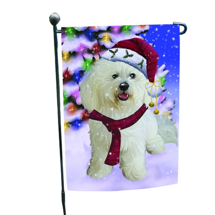 Winterland Wonderland Bichon Dog In Christmas Holiday Scenic Background Garden Flag