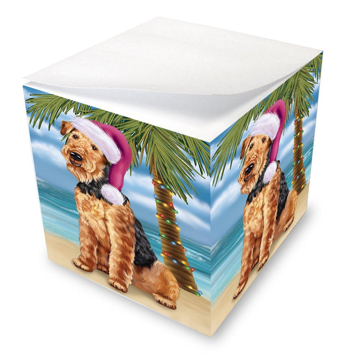 Summertime Happy Holidays Christmas Airedale Dog on Tropical Island Beach Note Cube D487