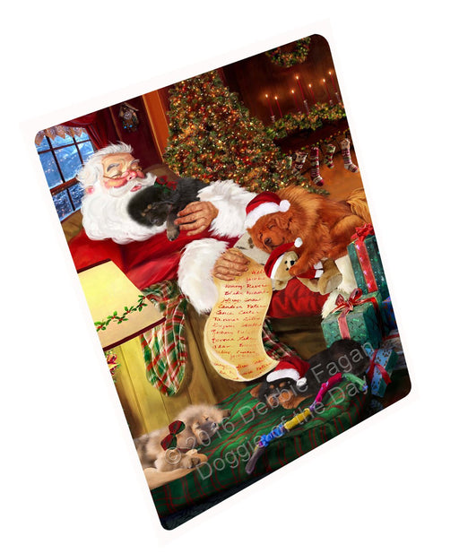 Tibetan Mastiff Dog and Puppies Sleeping with Santa Tempered Cutting Board (Small)
