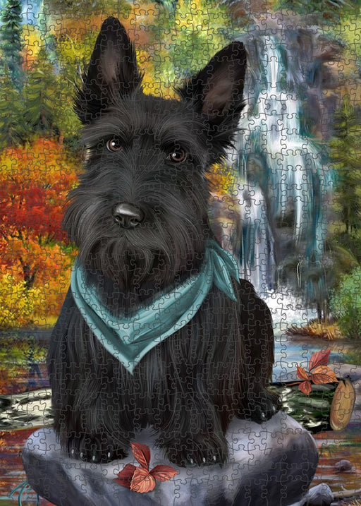 Scenic Waterfall Scottish Terrier Dog Puzzle with Photo Tin PUZL52401