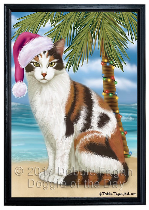 Summertime Happy Holidays Christmas Calico Cat on Tropical Island Beach Framed Canvas Print Wall Art D032